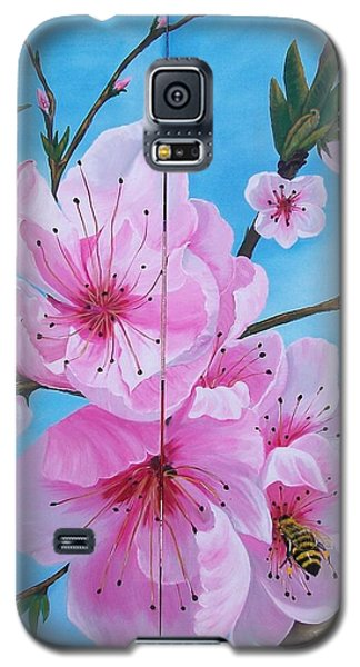 Peach Tree In Bloom Diptych Galaxy S5 Case