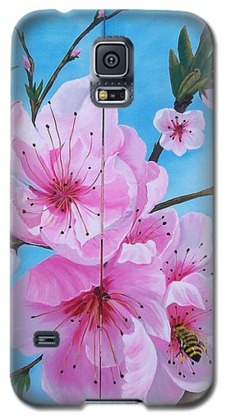 Peach Tree In Bloom Diptych Galaxy S5 Case by Sharon Duguay