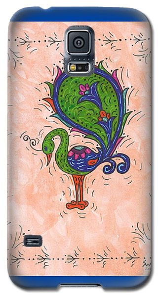 Galaxy S5 Case featuring the painting Peachy Peacock by Susie Weber