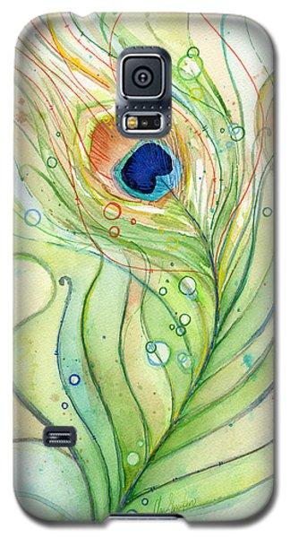 Peacock Feather Watercolor Galaxy S5 Case by Olga Shvartsur