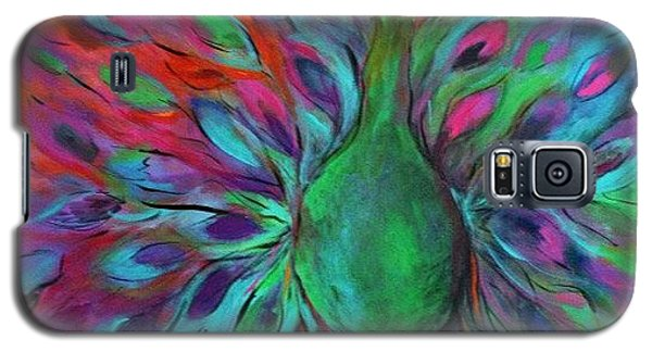 Galaxy S5 Case featuring the painting Peacock In Bloom by Alison Caltrider