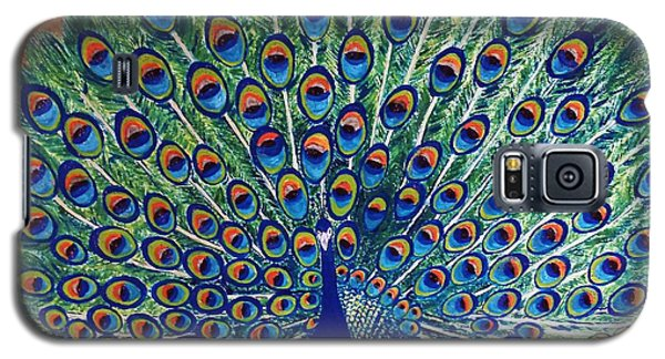 Galaxy S5 Case featuring the painting Peacock By Jasna Gopic by Jasna Gopic