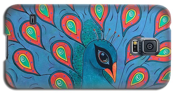 Galaxy S5 Case featuring the painting Peacock Promenade by Cindy Micklos