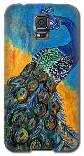 Galaxy S5 Case featuring the painting Peacock Waltz #3 by Ella Kaye Dickey