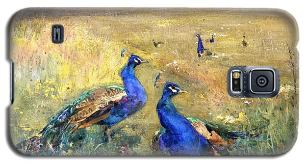 Peacocks In A Field Galaxy S5 Case by Mildred Anne Butler