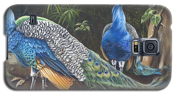Galaxy S5 Case featuring the painting Peacocks In The Garden by Phyllis Beiser