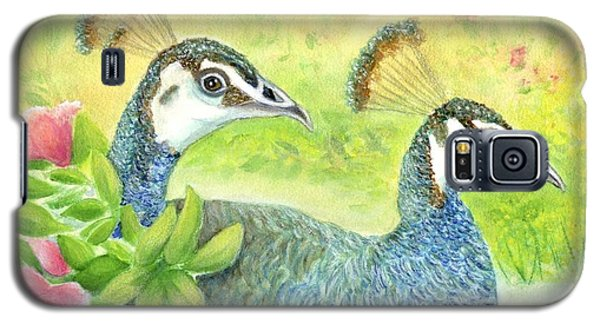 Galaxy S5 Case featuring the painting Peahens Strolling In The Garden by Jeanne Kay Juhos