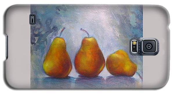 Galaxy S5 Case featuring the painting Pears On Blue Original Acrylic Painting by Chris Hobel