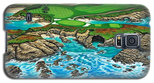 Galaxy S5 Case featuring the painting Pebble Beach 15th Hole-north by Jane Girardot