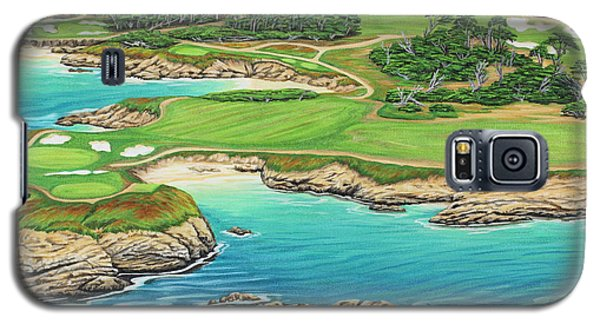 Galaxy S5 Case featuring the painting Pebble Beach 15th Hole-south by Jane Girardot