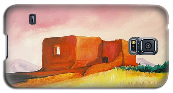 Galaxy S5 Case featuring the painting Pecos Mission Nm by Eric  Schiabor