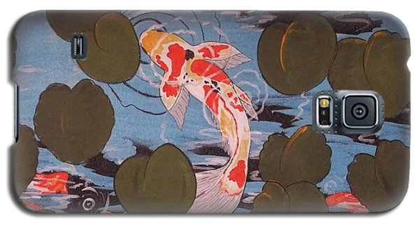 Galaxy S5 Case featuring the painting Peeking Koi by Cindy Micklos
