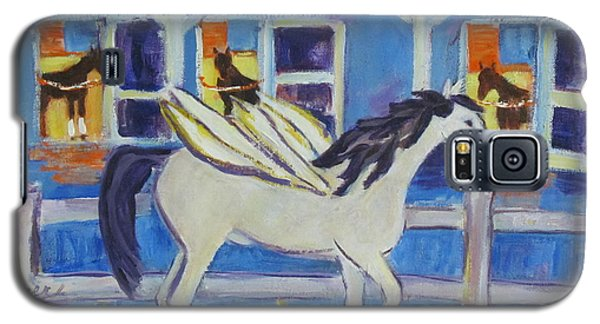 Galaxy S5 Case featuring the painting Pegasus At Race Track by Betty Pieper