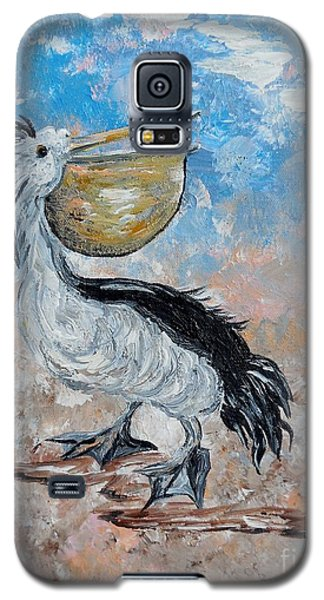 Galaxy S5 Case featuring the painting Pelican Beach Walk - Impressionist by Eloise Schneider