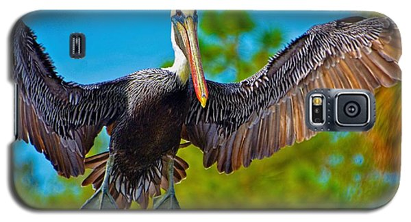 Galaxy S5 Case featuring the photograph Pelican In Flight by Pamela Blizzard