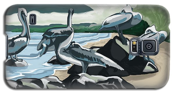 Galaxy S5 Case featuring the painting Pelicans And Friends At Seashore by Tim Gilliland