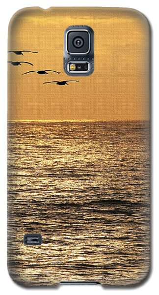Galaxy S5 Case featuring the photograph Pelicans Ocean And Sunsetting by Tom Janca