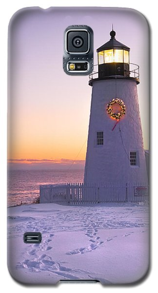 Pemaquid Point Lighthouse Christmas Snow Wreath Maine Galaxy S5 Case by Keith Webber Jr
