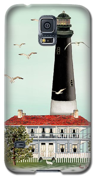 Galaxy S5 Case featuring the painting Pensacola Light House by Anne Beverley-Stamps