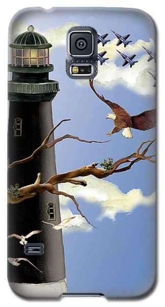 Galaxy S5 Case featuring the painting Pensacola Light House Tower by Anne Beverley-Stamps