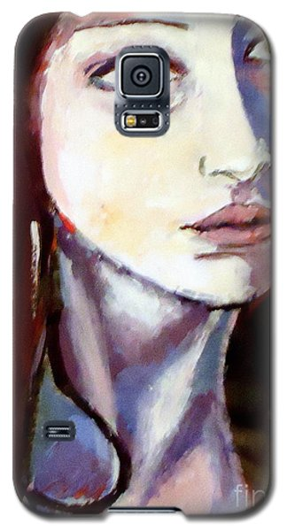 Galaxy S5 Case featuring the painting Pensive Lady by Helena Wierzbicki