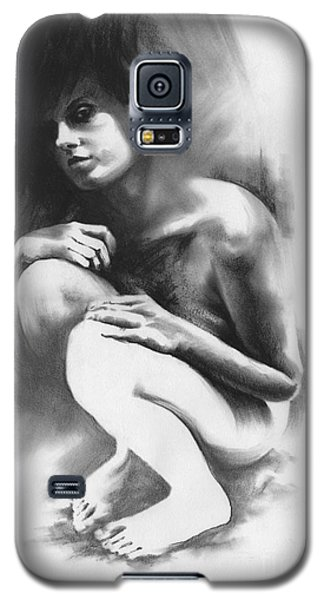 Galaxy S5 Case featuring the drawing Pensive by Paul Davenport