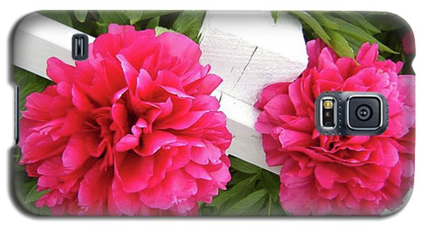 Galaxy S5 Case featuring the photograph Peonies Resting On White Fence by Barbara Griffin