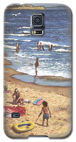 people on Bournemouth beach Blue Sea Galaxy S5 Case