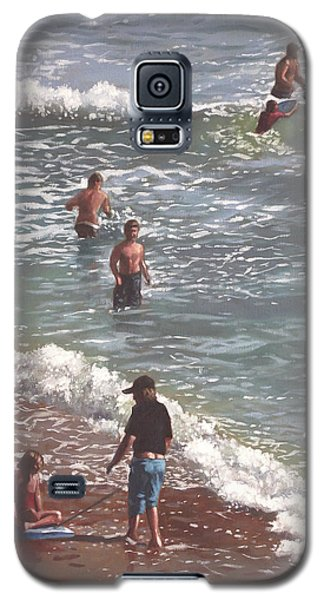 People On Bournemouth Beach Waves And People Galaxy S5 Case