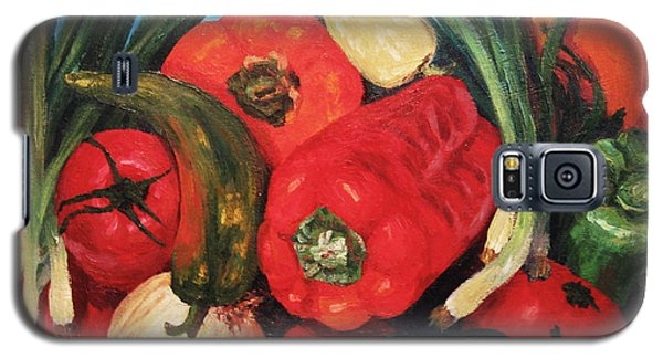 Galaxy S5 Case featuring the painting Peppers by Cheryl Del Toro