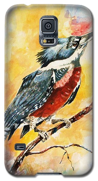 Galaxy S5 Case featuring the painting Perched Kingfisher by Al Brown
