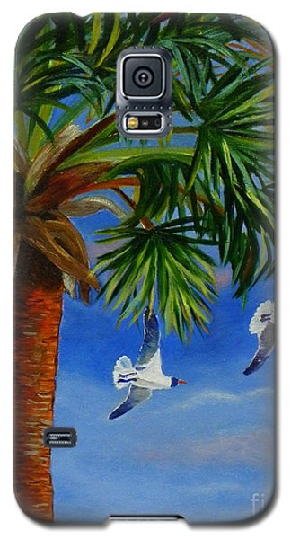 Galaxy S5 Case featuring the painting Perfect Flight  Palm Tree And Seagulls by Shelia Kempf