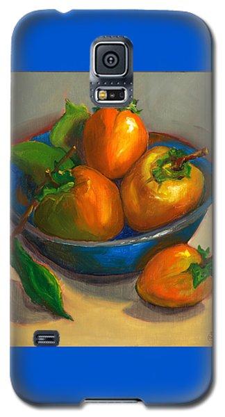 Galaxy S5 Case featuring the painting Persimmons In Blue Bowl by Susan Thomas