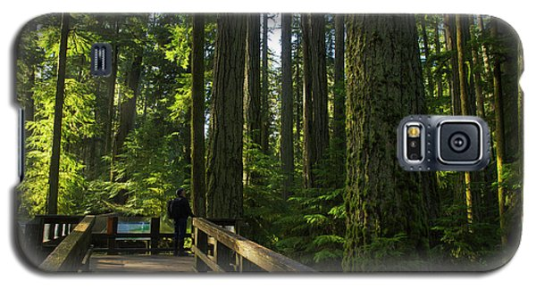 Galaxy S5 Case featuring the photograph Person Standing On A Viewing Platform by Robert Postma