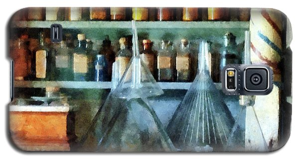 Galaxy S5 Case featuring the photograph Pharmacist - Glass Funnels And Barber Pole by Susan Savad