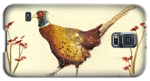 Pheasant Galaxy S5 Case - Pheasant In The Flowers by Juan  Bosco