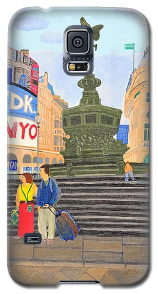 Galaxy S5 Case featuring the painting London- Piccadilly Circus by Magdalena Frohnsdorff