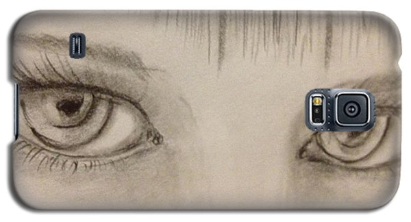 Galaxy S5 Case featuring the drawing Piercing Eyes by Bozena Zajaczkowska