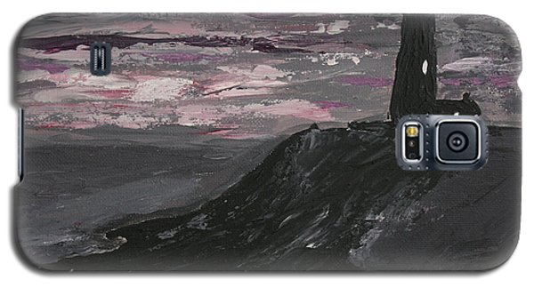 Pigeon Lighthouse Impasto Sunset Monochromatic Galaxy S5 Case by Ian Donley