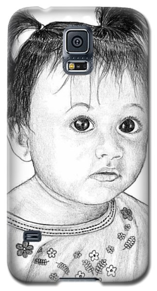 Galaxy S5 Case featuring the drawing Pigtails 2 by Lew Davis
