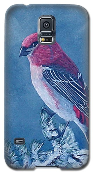 Galaxy S5 Case featuring the painting Pine Grosbeak by Fran Brooks
