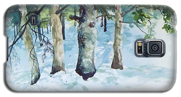 Galaxy S5 Case featuring the painting Pine Trees And Snow by Joy Nichols