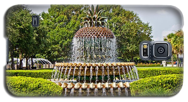 Galaxy S5 Case featuring the photograph Pineapple Fountain In Waterfront Park by Jean Haynes
