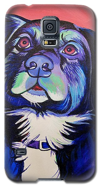 Galaxy S5 Case featuring the painting Pink And Blue Dog by Joshua Morton