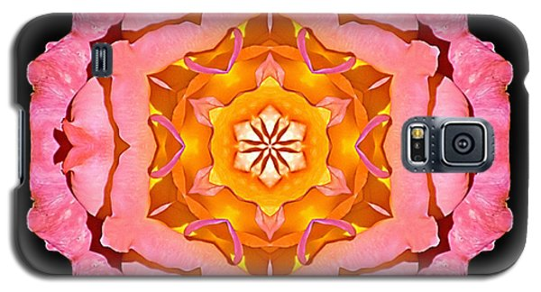 Galaxy S5 Case featuring the photograph Pink And Orange Rose I Flower Mandala by David J Bookbinder