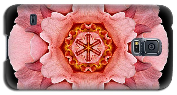 Galaxy S5 Case featuring the photograph Pink And Orange Rose Iv Flower Mandala by David J Bookbinder