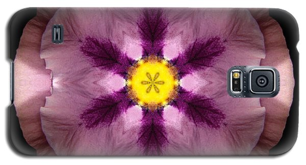 Galaxy S5 Case featuring the photograph Pink And Purple Pansy Flower Mandala by David J Bookbinder