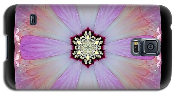 Galaxy S5 Case featuring the photograph Pink And White Hibiscus Moscheutos I Flower Mandala by David J Bookbinder