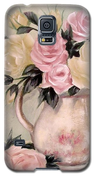 Pink And Yellow Roses In Teapot Painting Galaxy S5 Case by Chris Hobel