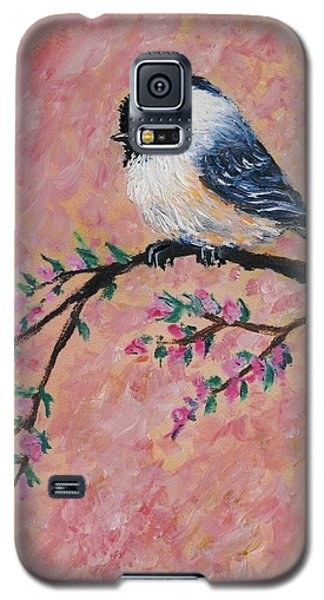 Pink Blossom Chickadees - Bird 2 Galaxy S5 Case